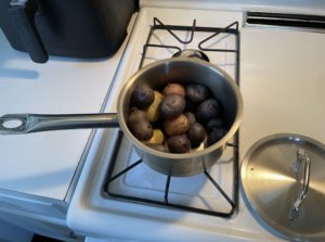 An actual photo from my kitchen of my morning batch of boiled potatoes