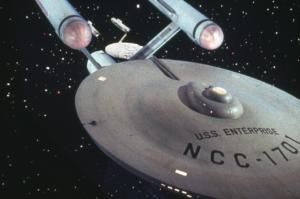 Shows the starship enterprise from star trek